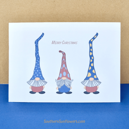 gnome christmas cards free printable with merry christmas and 3 gnomes