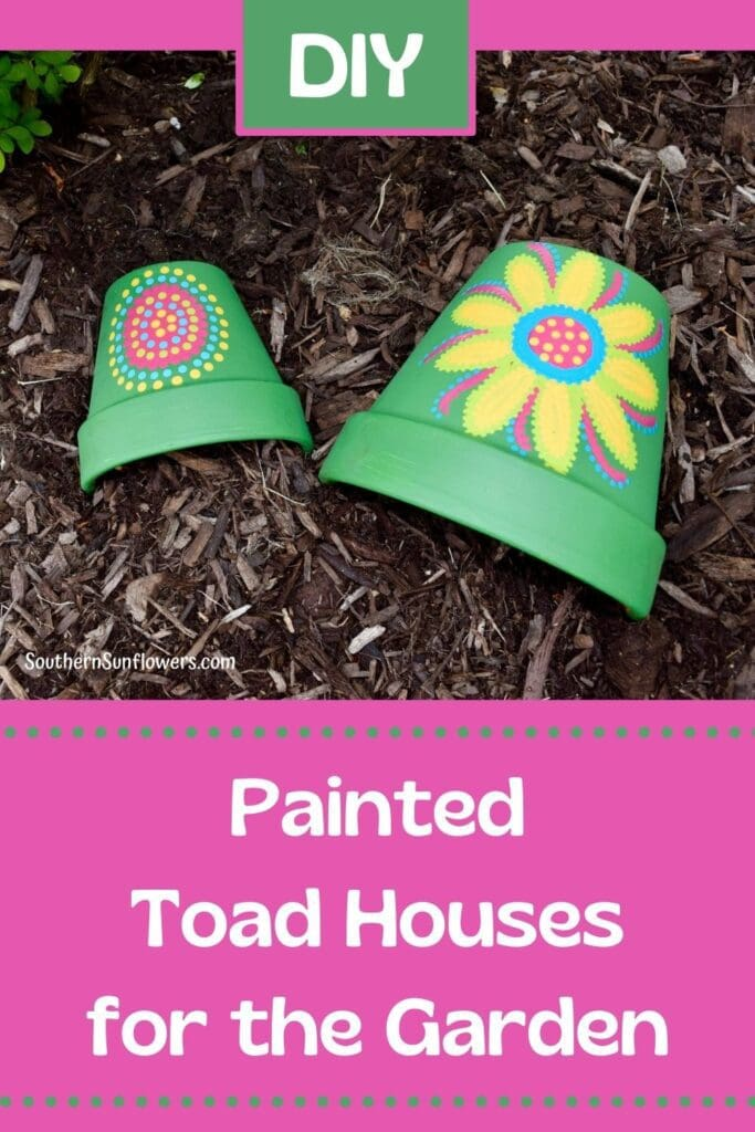 graphic for diy painted toad houses for the garden